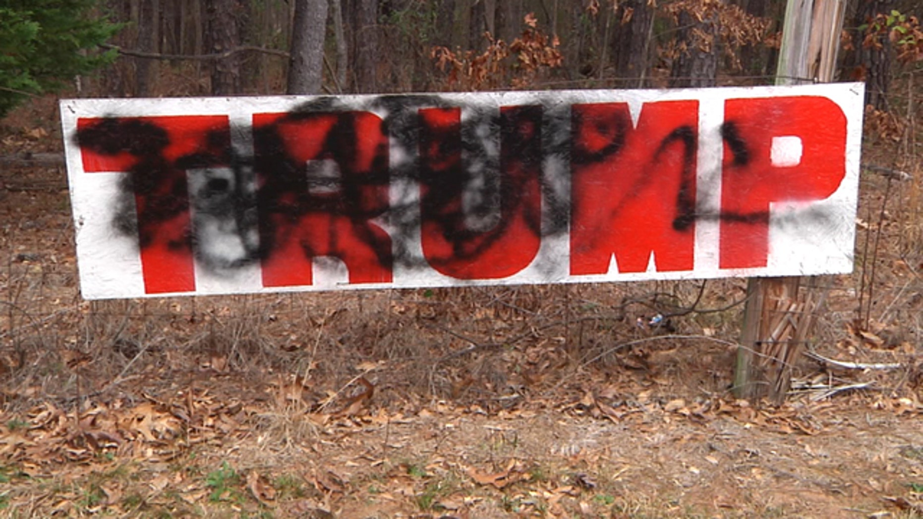 A pro-Trump sign owned by Jeff Solomon which was vandalized this week.