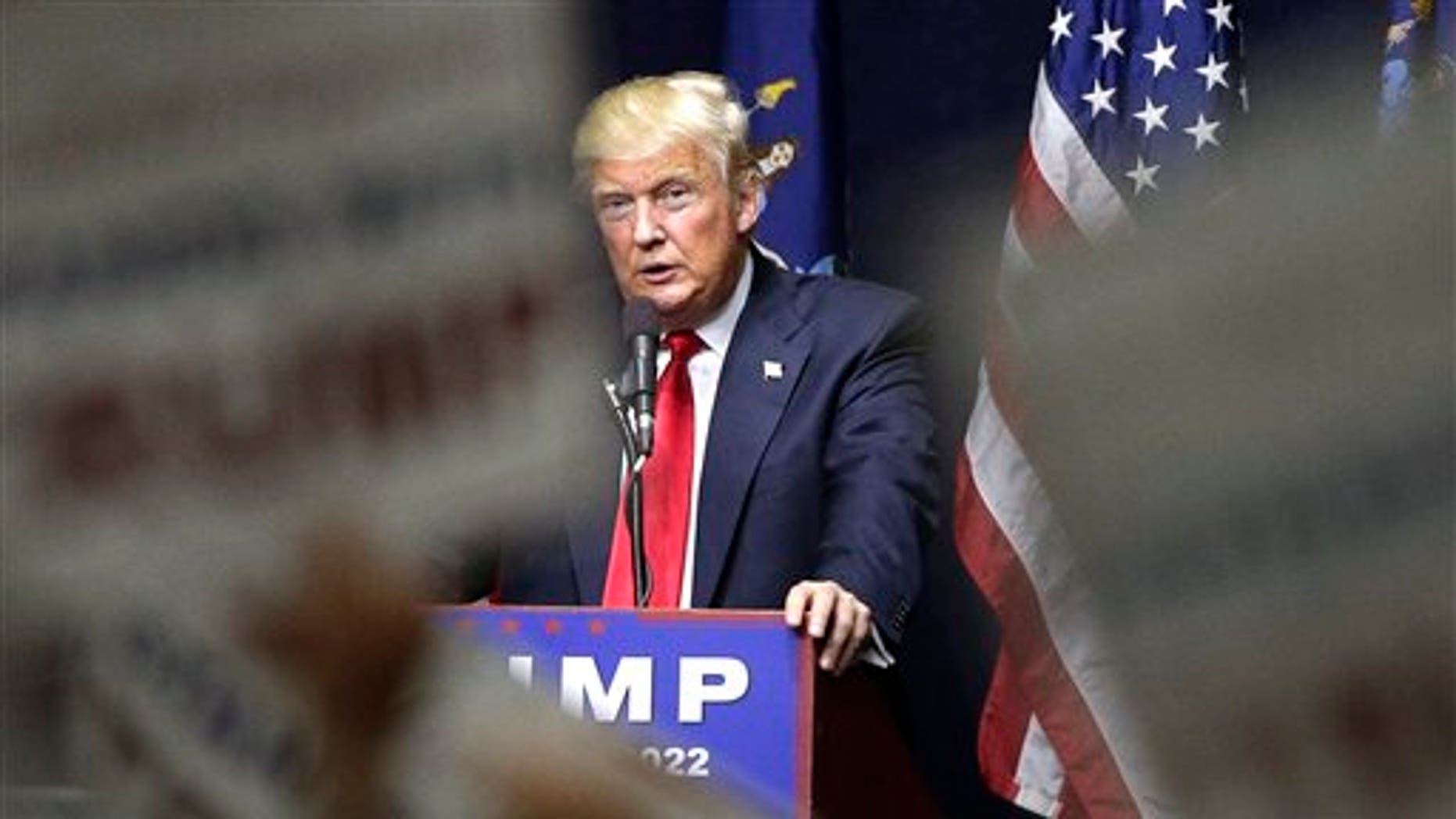 Republican presidential candidate Donald Trump speaks during a campaign rally, Wednesday, April 6, 2016, in Bethpage, N.Y. (AP Photo/Julie Jacobson)