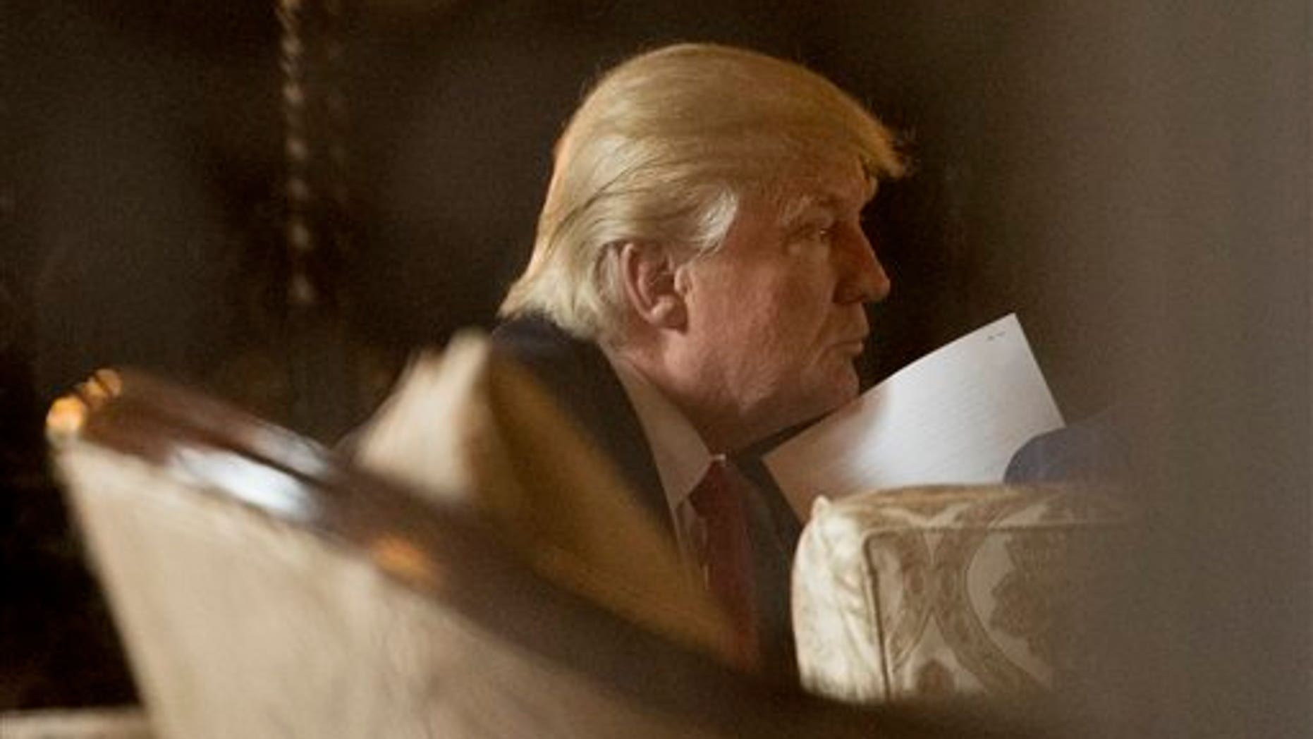 President-elect Donald Trump at a meeting at his Mar-A-Lago mansion, Palm Beach, Fla., On December 21, 2016.