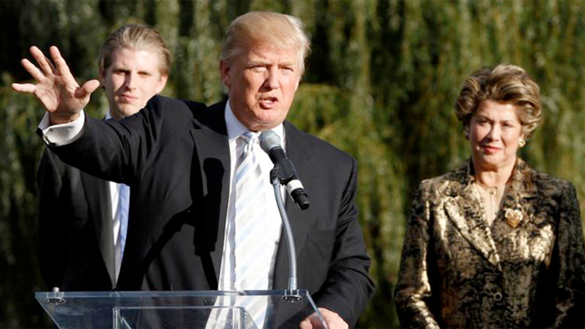 Donald Trump with Patricia Kluge, right,  during a press conference in Charlottesville, Va., after he purchased the wine estate from the former socialite.