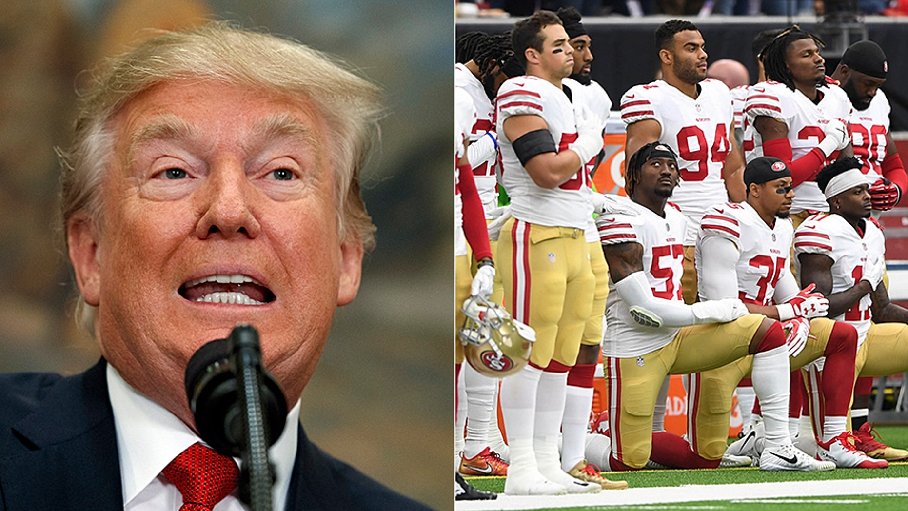President Trump blasted NFL players, like the San Francisco 49ers, seen at right, for kneeling during the National Anthem. (AP/Reuters)