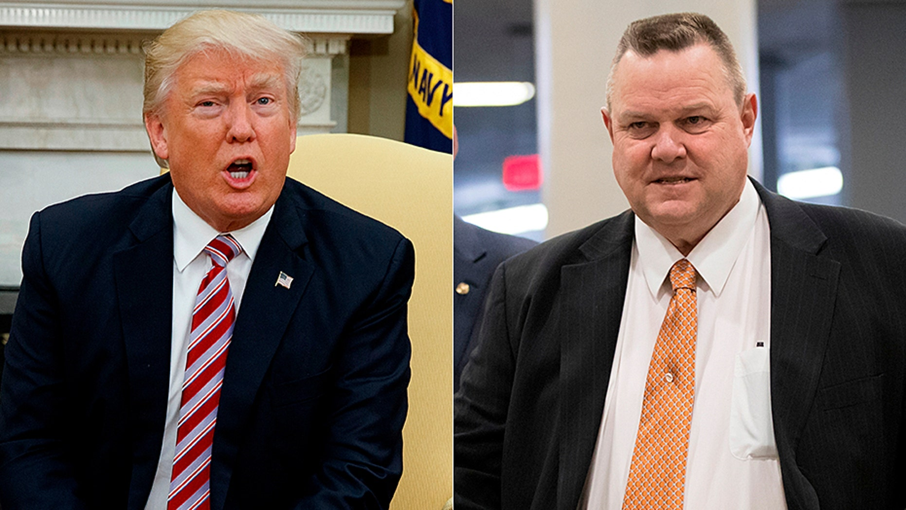 President Trump is making life difficult for Montana Sen. Jon Tester, right.