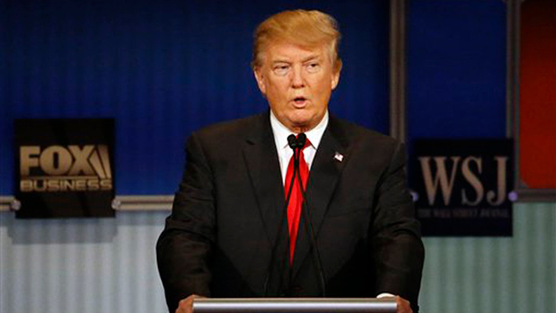 Donald Trump speaks during Republican presidential debate at Milwaukee Theatre, Tuesday, Nov. 10, 2015, in Milwaukee. (AP Photo/Morry Gash)