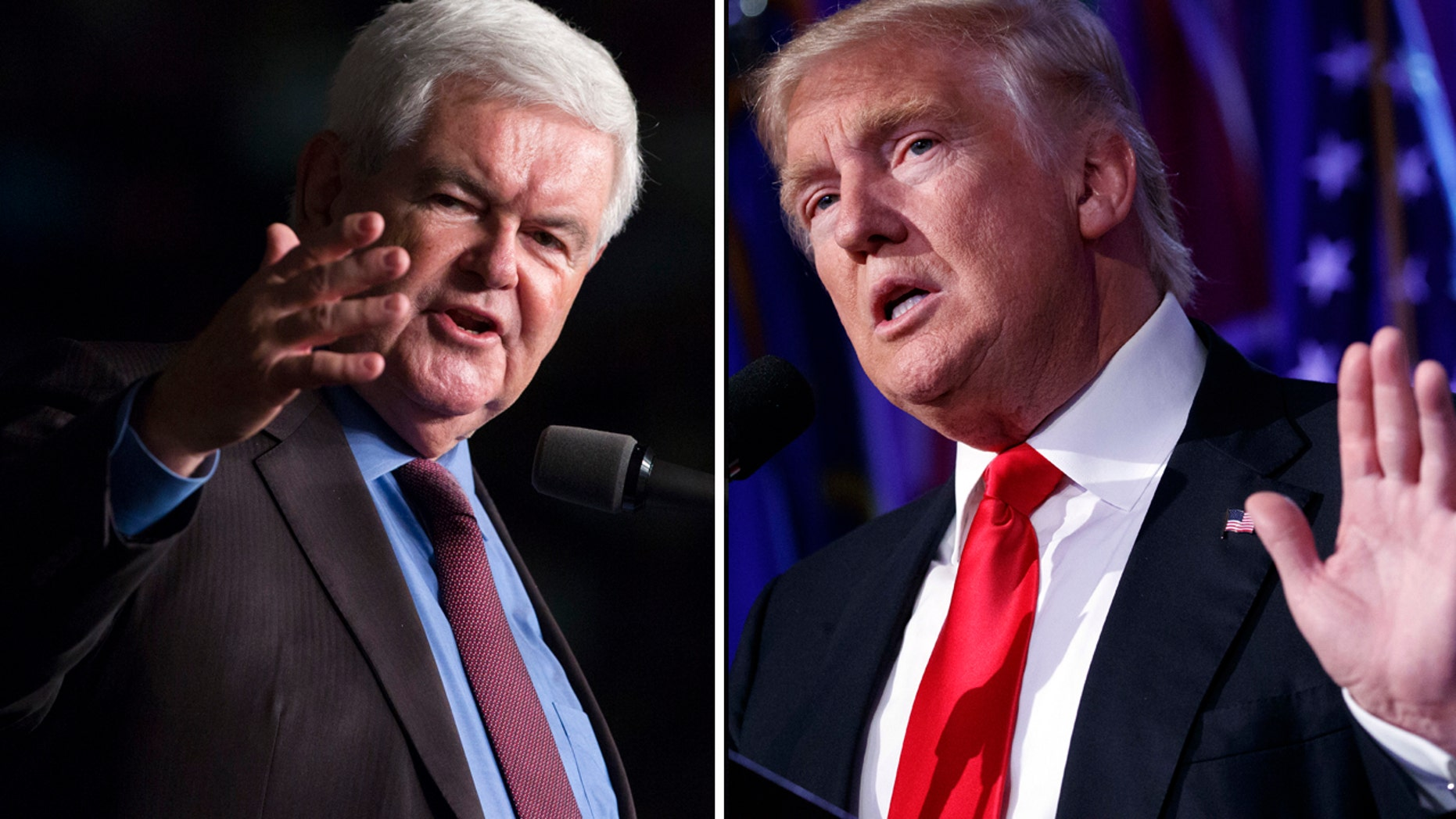 Former House Speaker Newt Gingrich, left, and President-elect Donald Trump