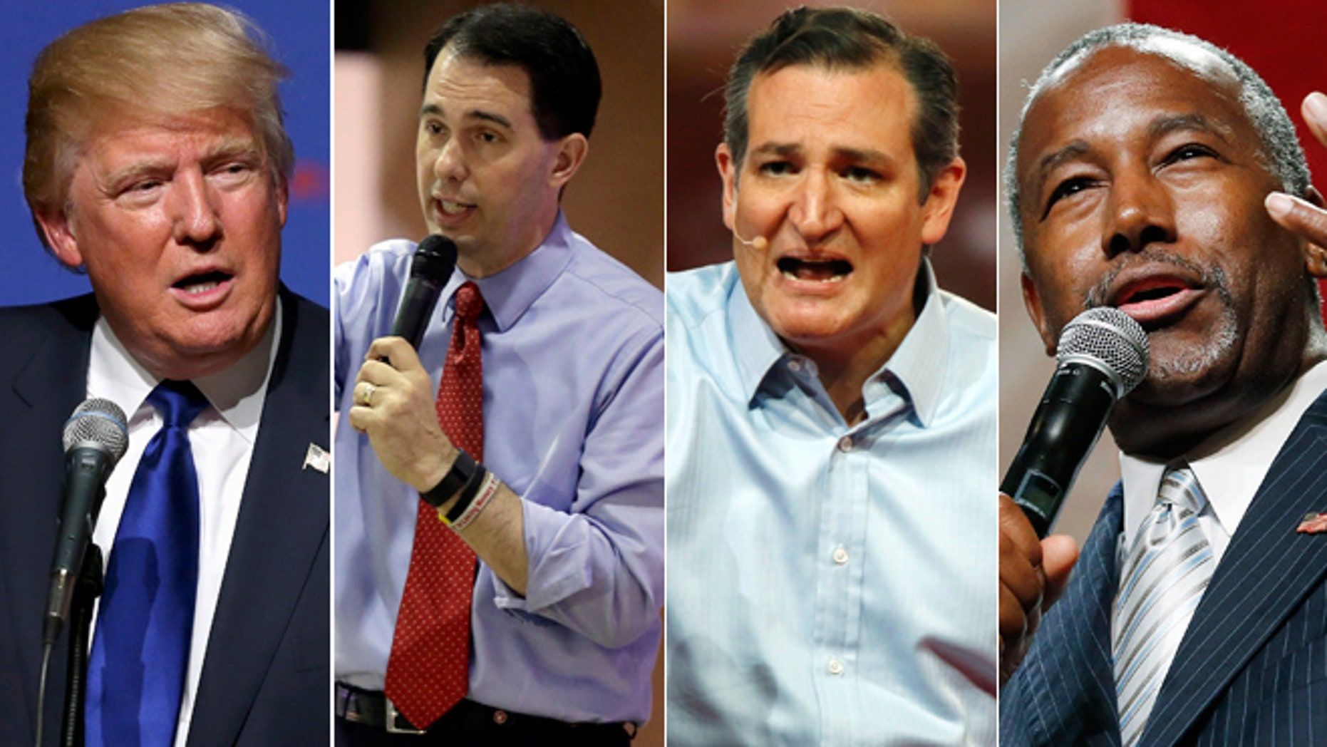 From left: GOP 2016 presidential candidates Donald Trump, Scott Walker, Ted Cruz and Ben Carson. (AP)