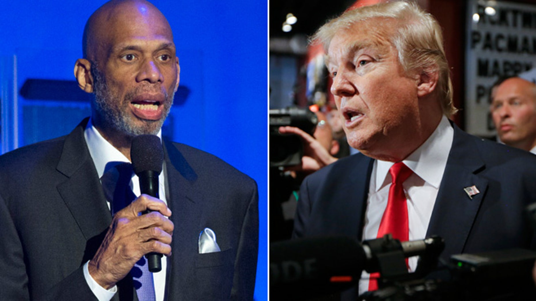 At left,Former NBA basketball player Kareem Abdul-Jabbar; at right, Republican presidential candidate Donald Trump (Reuters/AP)