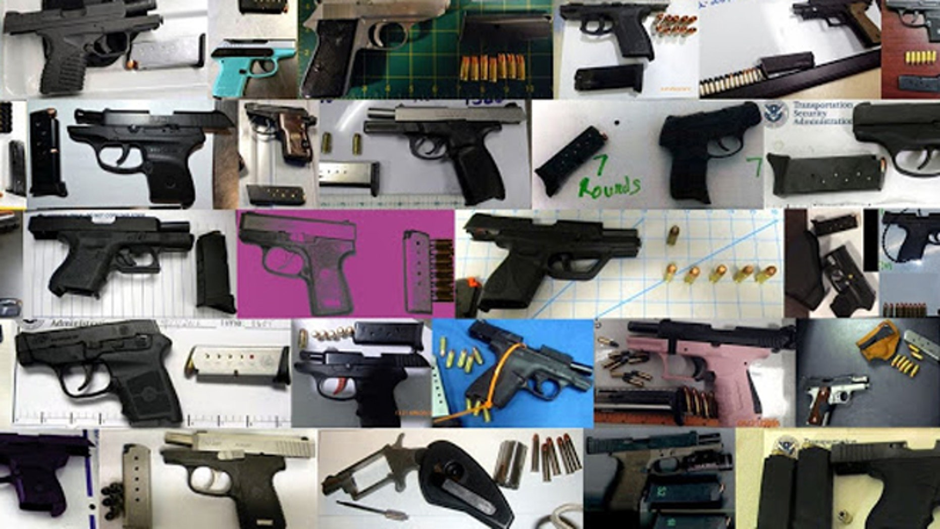 A record-breaking 73 firearms were discovered last week in carry-on bags around the nation. (TSA)