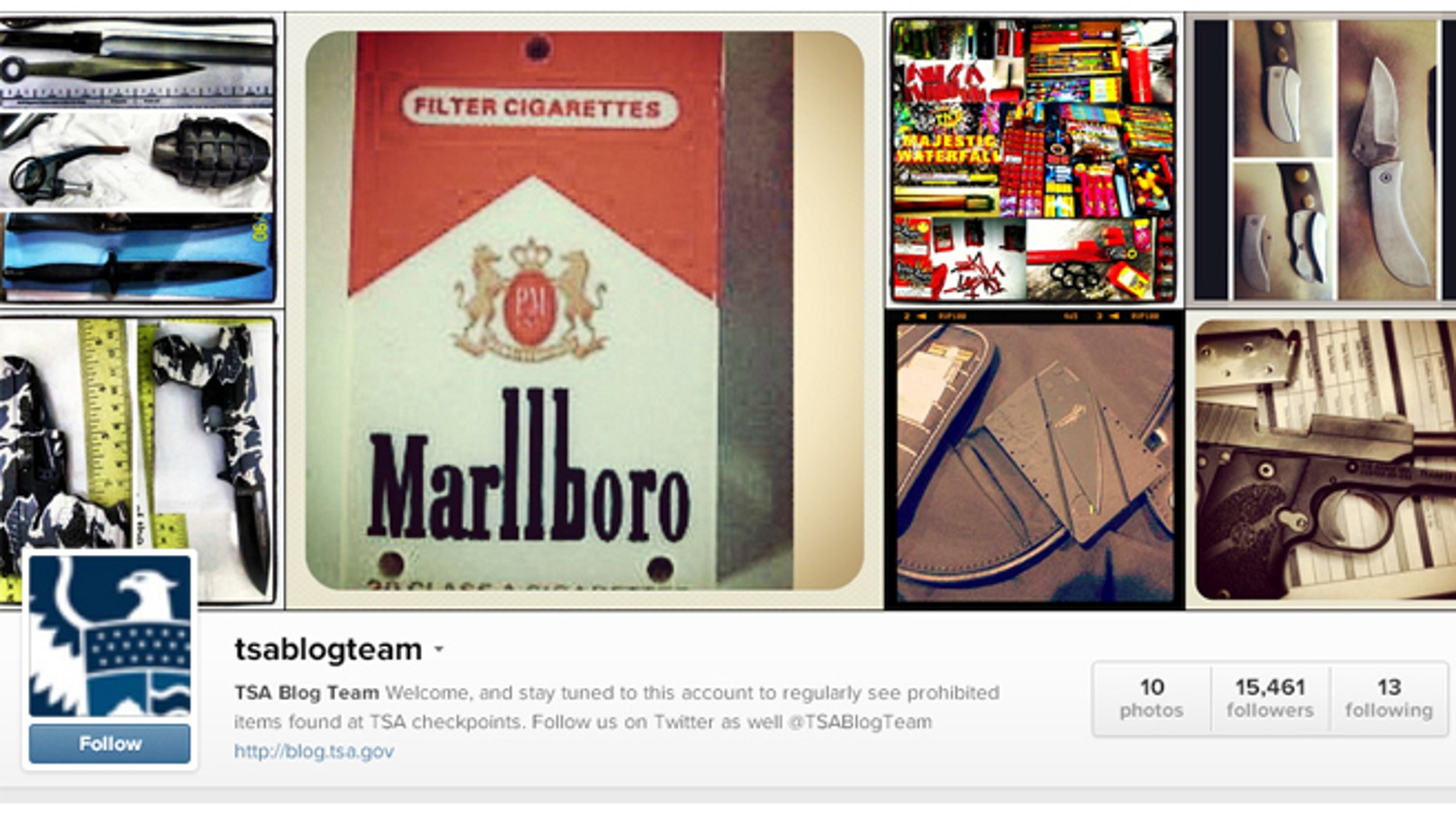 The TSA started an Instagram account where they post pictures of prohibited items people bring to the airport.