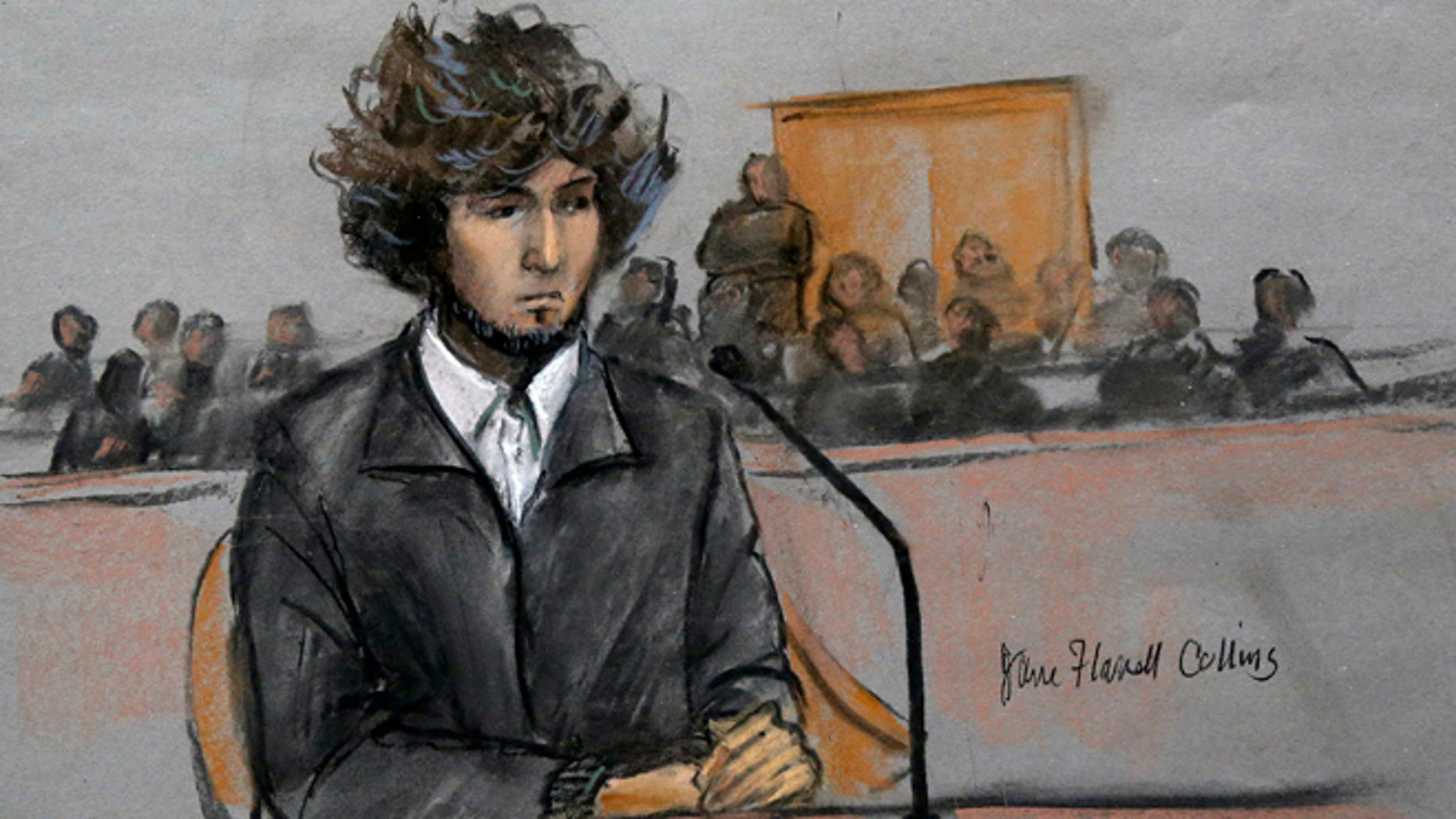 FILE - In this Dec. 18, 2014, courtroom sketch, Boston Marathon bombing suspect Dzhokhar Tsarnaev sits in federal court in Boston for a final hearing before his trial begins in January.