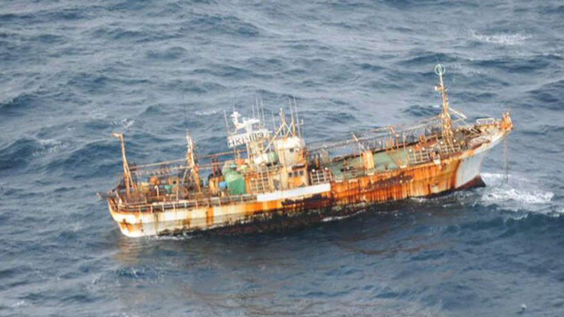 A Japanese fishing boat lost in the Pacific Ocean after the March 2011 earthquake.