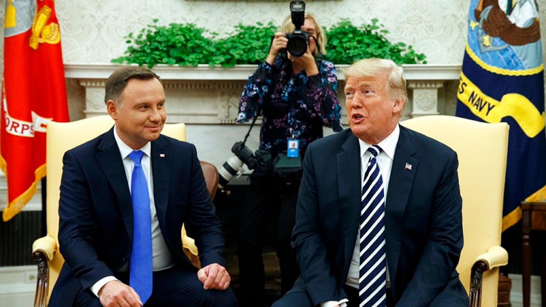 President Trump and Polish President Andrzej Duda in the Oval Office on Tuesday.