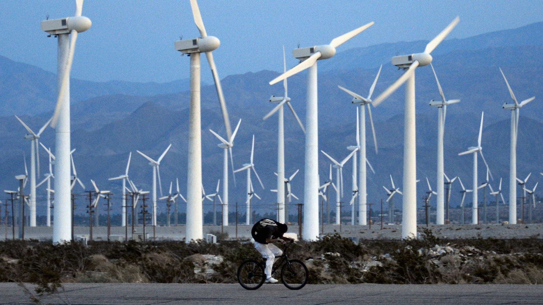 PALM SPRINGS, CA - MARCH 27:  A man rids his bike against the win as giant wind turbines are powered by strong winds at sunset on March 27, 2013 in Palm Springs, California. According to reports, California continues to lead the nation in green technology and has the lowest greenhouse gas emissions per capita, even with a growing economy and population.  (Photo by Kevork Djansezian/Getty Images)