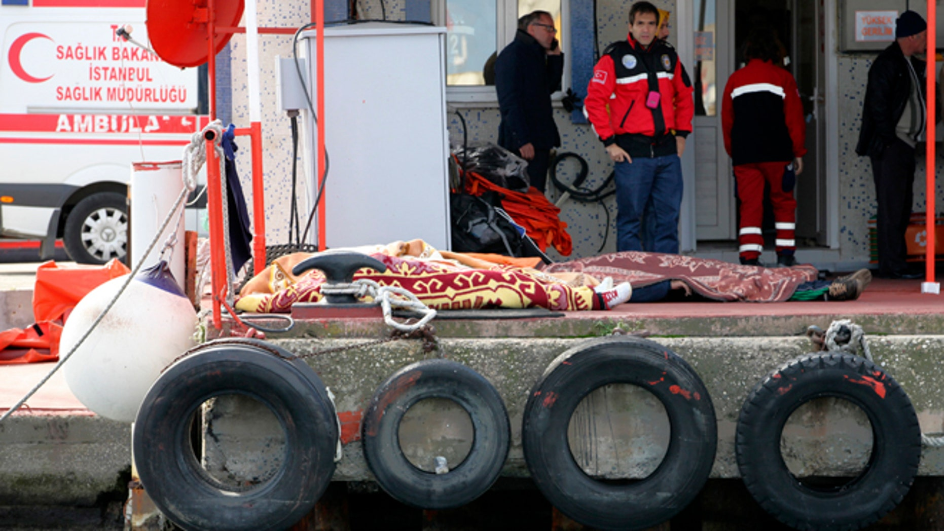Nov. 3, 2014: Dead bodies covered with blankets lie on the ground after a boat carrying suspected migrants from Afghanistan and Syria sank just north of the Bosphorus Strait off the coast of Istanbul, Turkey, leaving at least 24 people dead and several people missing. Seven people were rescued, Turkish authorities said.