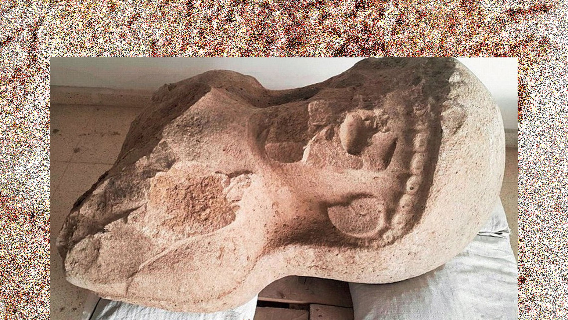 This statue was uncovered at a citadel gate complex in Turkey by U of T archaeologists leading the Tayinat Archaeological Project (Credit: The Tayinat Archaeological Project)