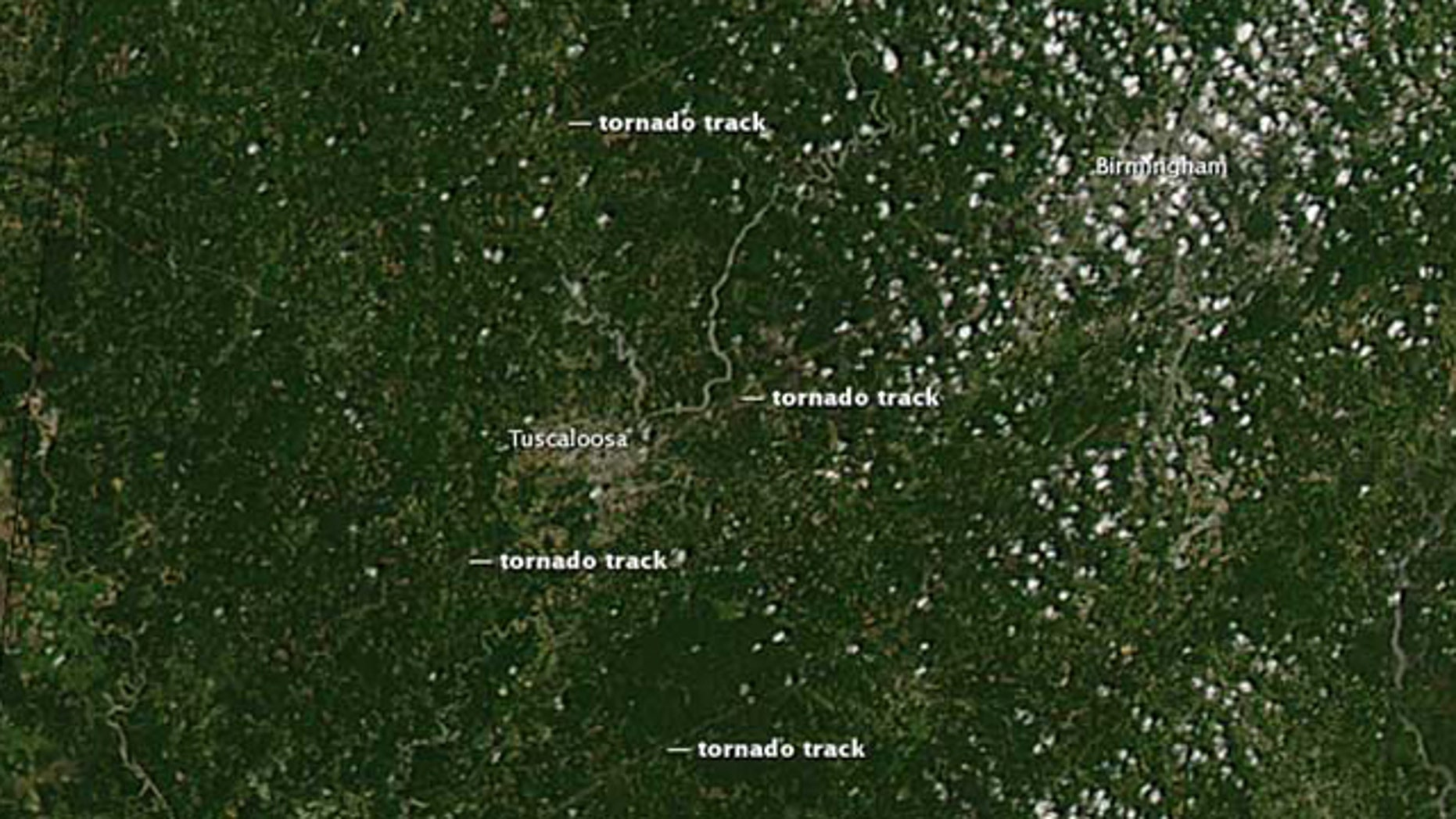 Tuscaloosa, Ala., was hit by three separate tornados last week, NASA images show