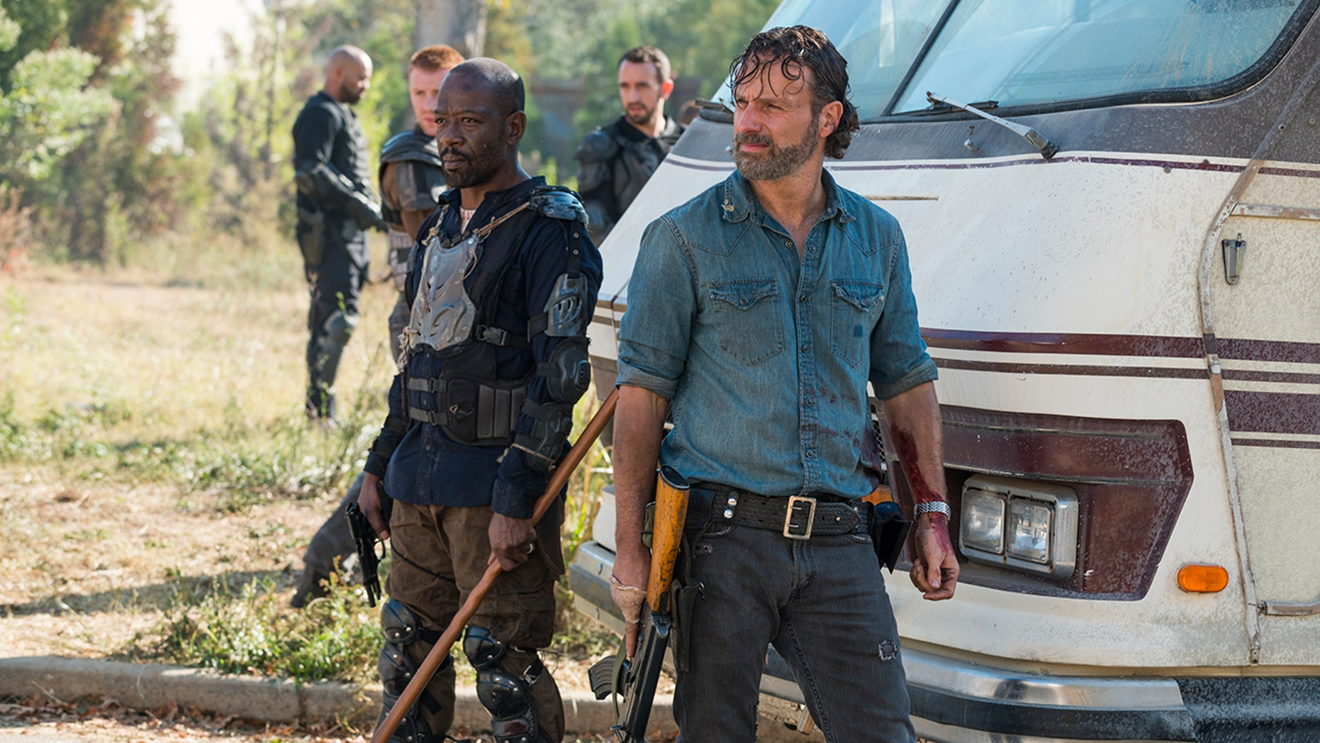 """Lennie James (left) and Andrew Lincoln (right) from """"The Walking Dead"""" Season 7"""