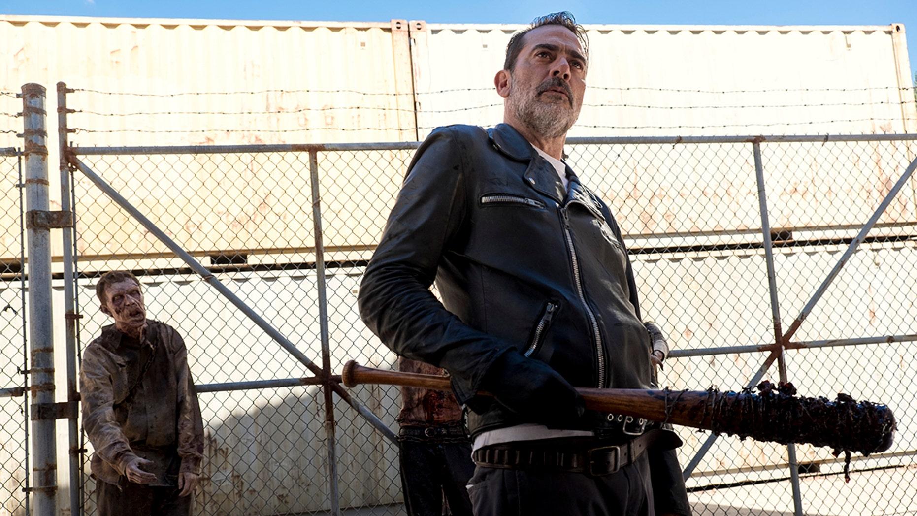 Jeffrey Dean Morgan as Negan; group - The Walking Dead _ Season 8, Episode 11 - Photo Credit: Gene Page/AMC