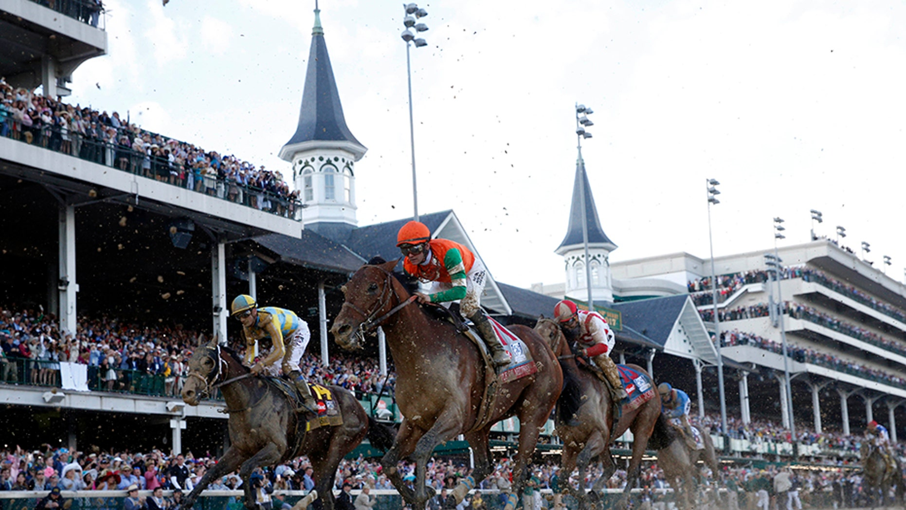 Flavien Prat aboard Battle of Midway (11) races to the finish of the 2017 Kentucky Derby at Churchill Downs.