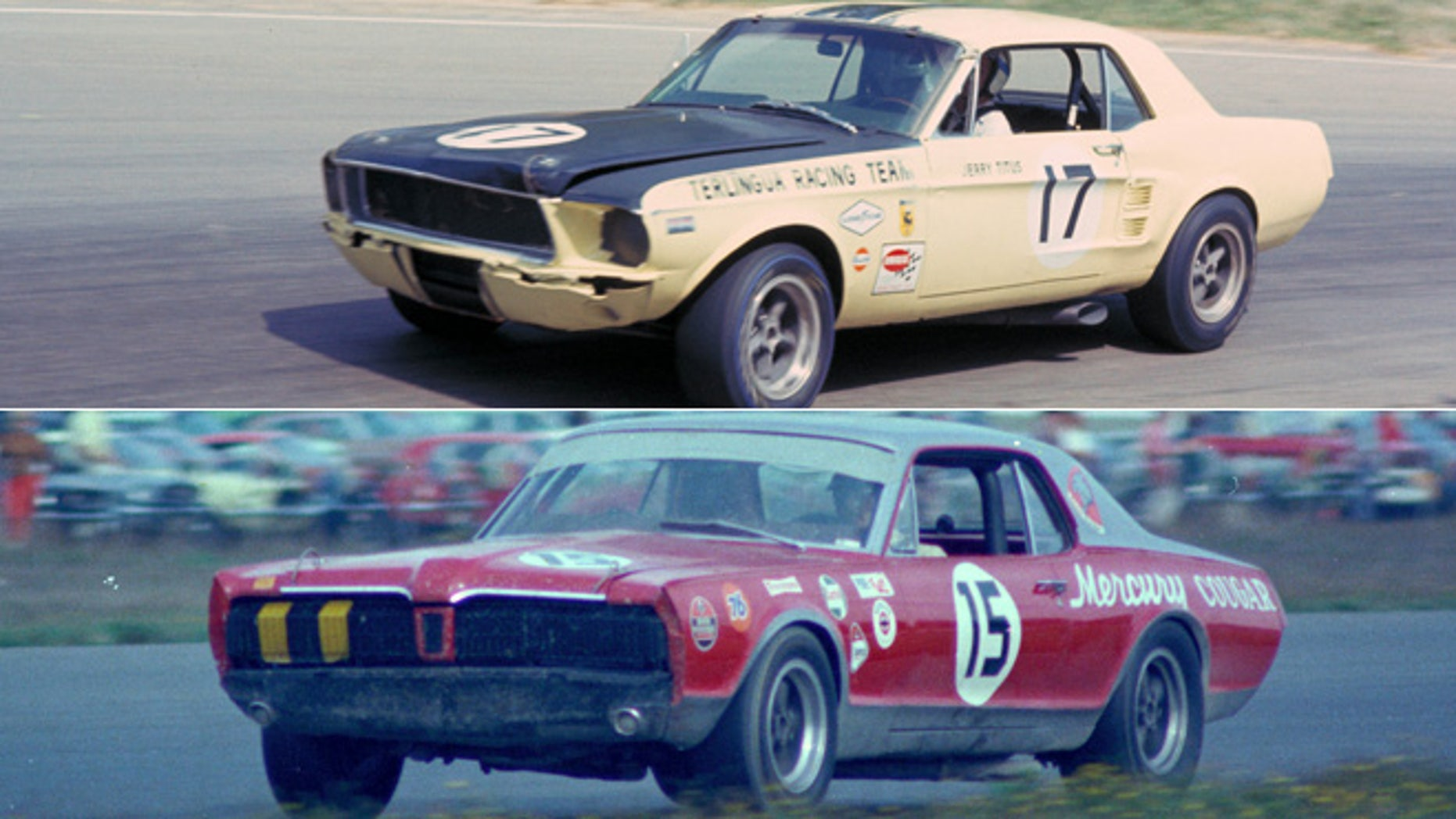 Racing versions of the 1967 Ford Mustang (top) and Mercury Cougar (bottom)