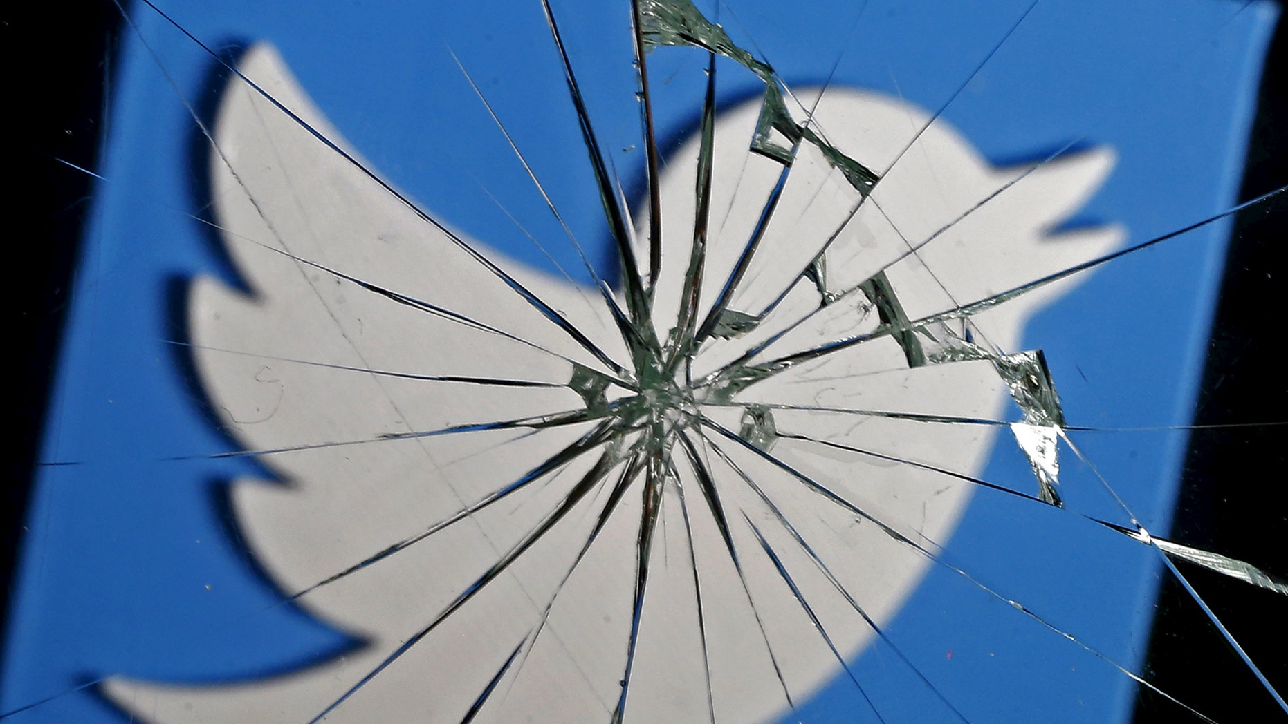 A 3D-printed Twitter logo is seen through broken glass, in this picture illustration taken February 8, 2016. (REUTERS/Dado Ruvic)