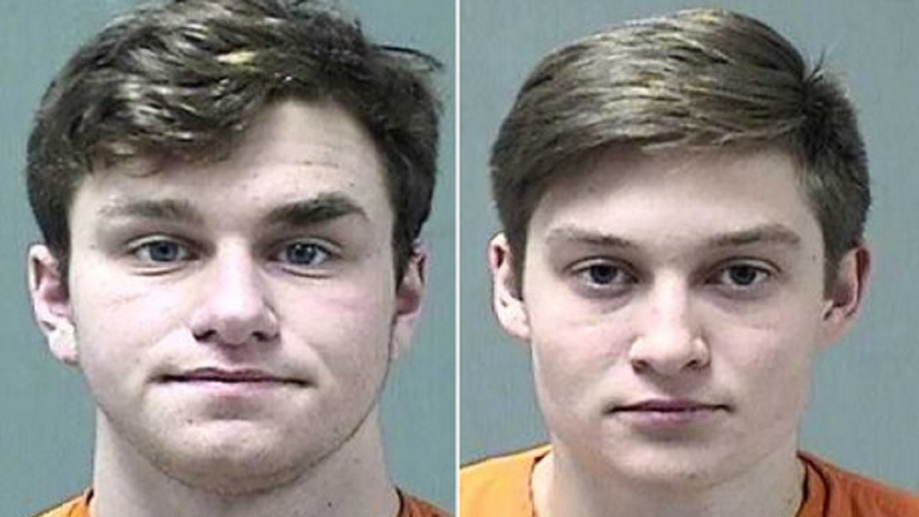 Willard Hartman (L) and Benjamin Krohn, both 19, were pulled over for a traffic stop when police found five loaded guns in the car Wednesday.