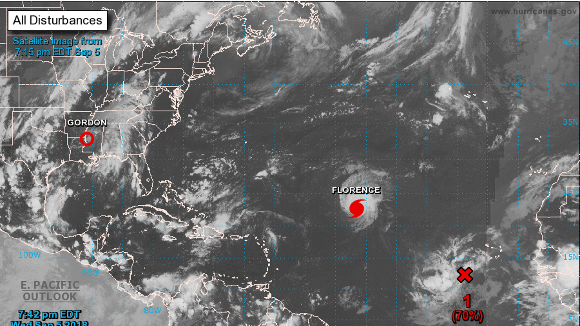 This satellite image shows Hurricane Florence in the North Atlantic Ocean Wednesday night.