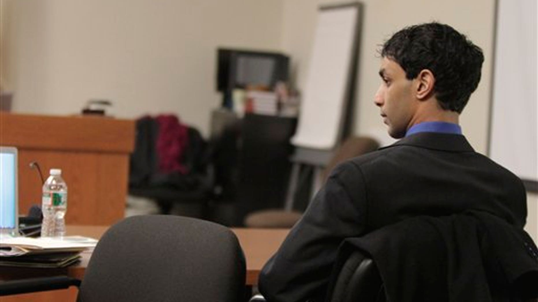 Feb. 27, 2012: Dharun Ravi listens to testimony during his trial  at the Middlesex County Courthouseb in New Brunswick, N.J.