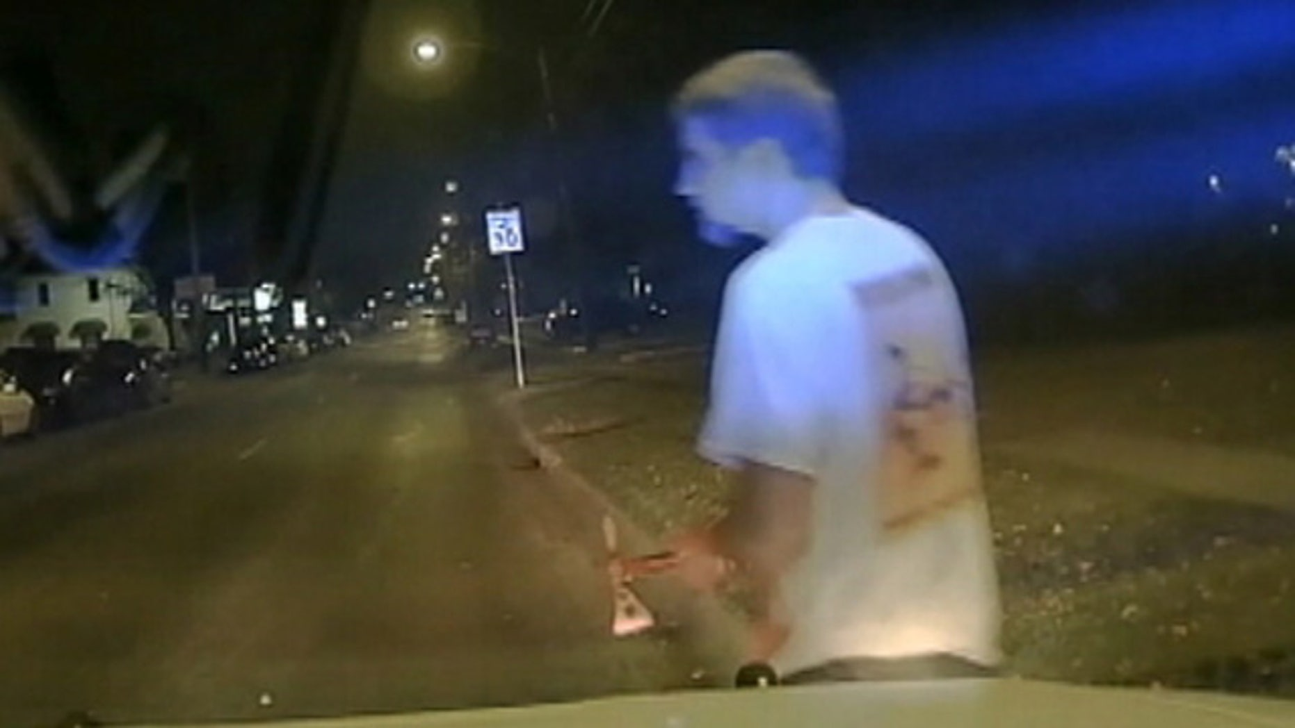 Dec. 13, 2015: This image take from dashcam video shows University of North Texas student Ryan McMillan seconds before he was shot and killed by a campus police officer in Denton, Texas. (Texas Department of Public Safety)