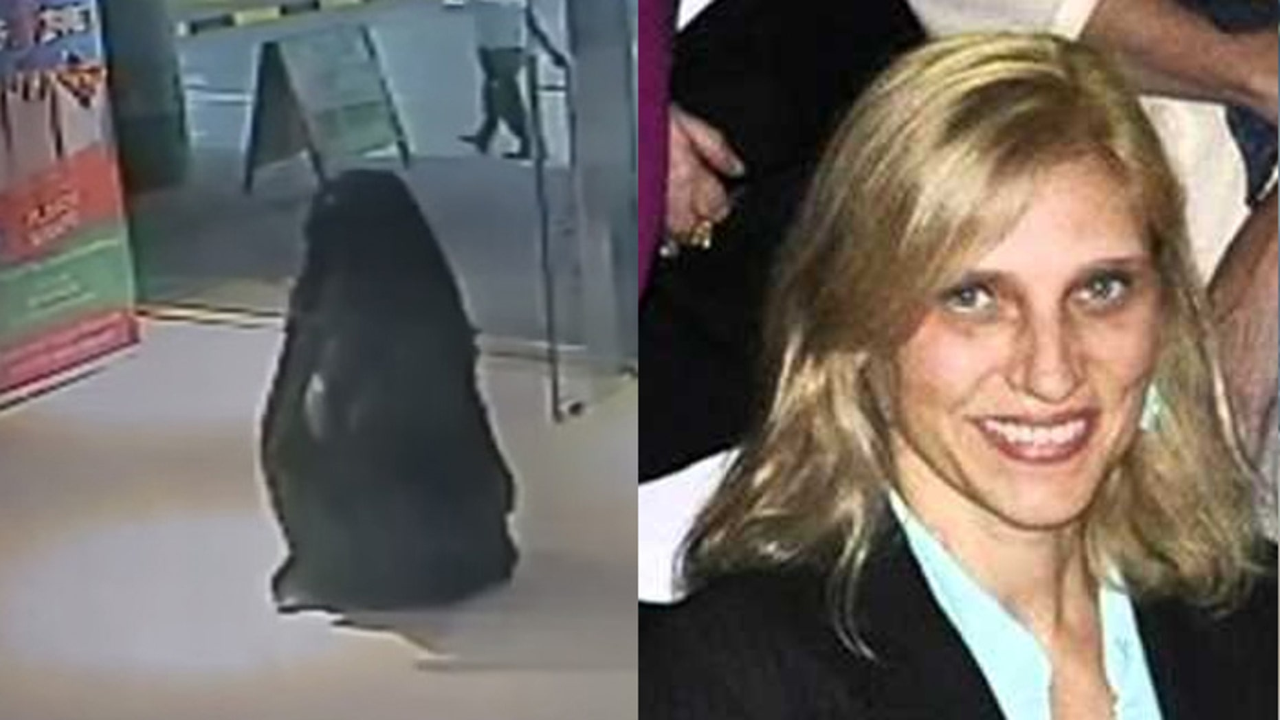 Alaa Bader Abdullah al-Hashemi was captured on video going into the mall restroom where she killed 47-year-old schoolteacher Ibolya Ryan (r.). (UAE, Facebook)
