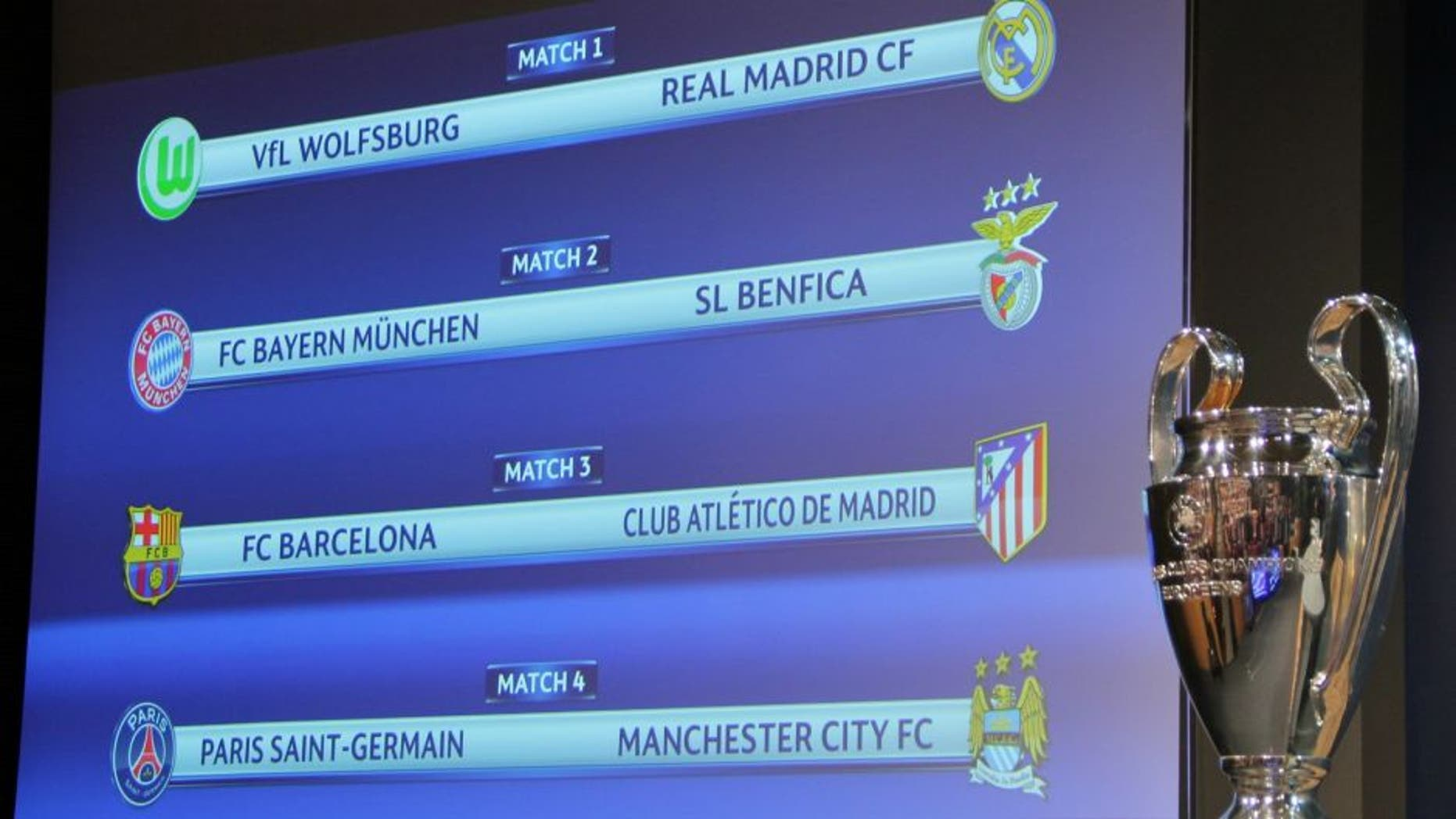 NYON, SWITZERLAND - MARCH 18: The results of the draw for the UEFA Champions league round of eight is displayed on a screen on March 18, 2016 at the European football organization's headquarters in Nyon, Switzerland. (Photo by Fatih Erel/Anadolu Agency/Getty Images)