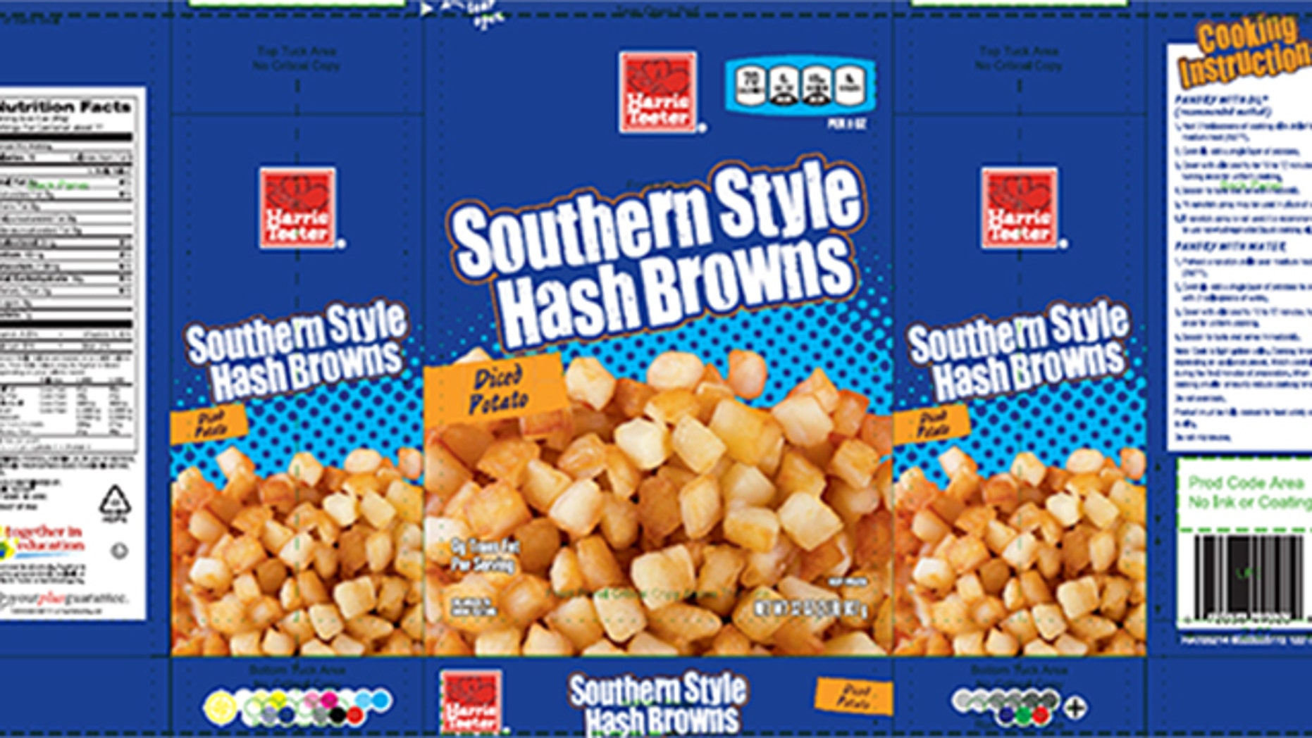 One of the recalled frozen hash brown packages