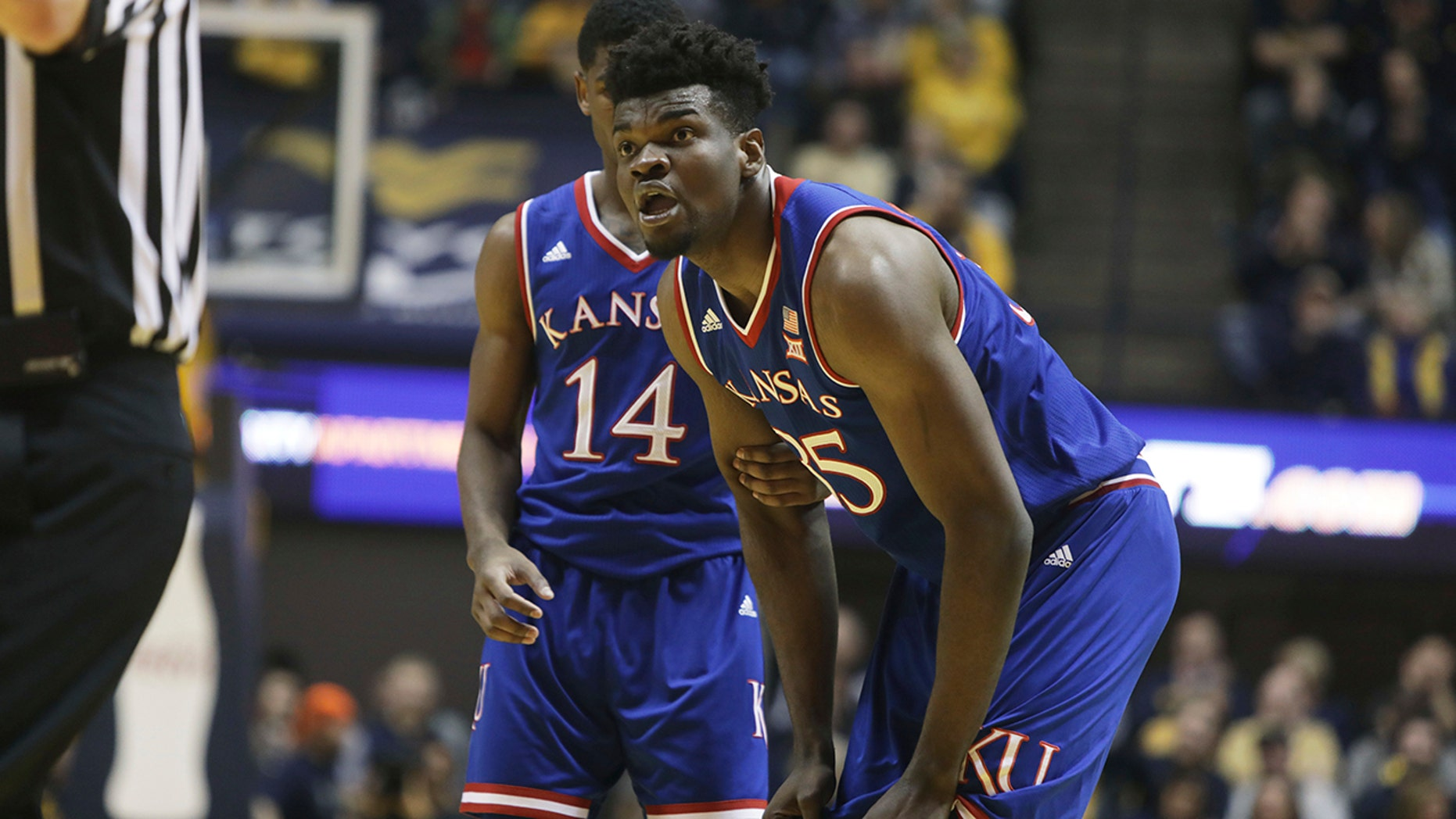 Kansas center Udoka Azubuike reacts after being called for a technical foul during the first half of a game against West Virginia.