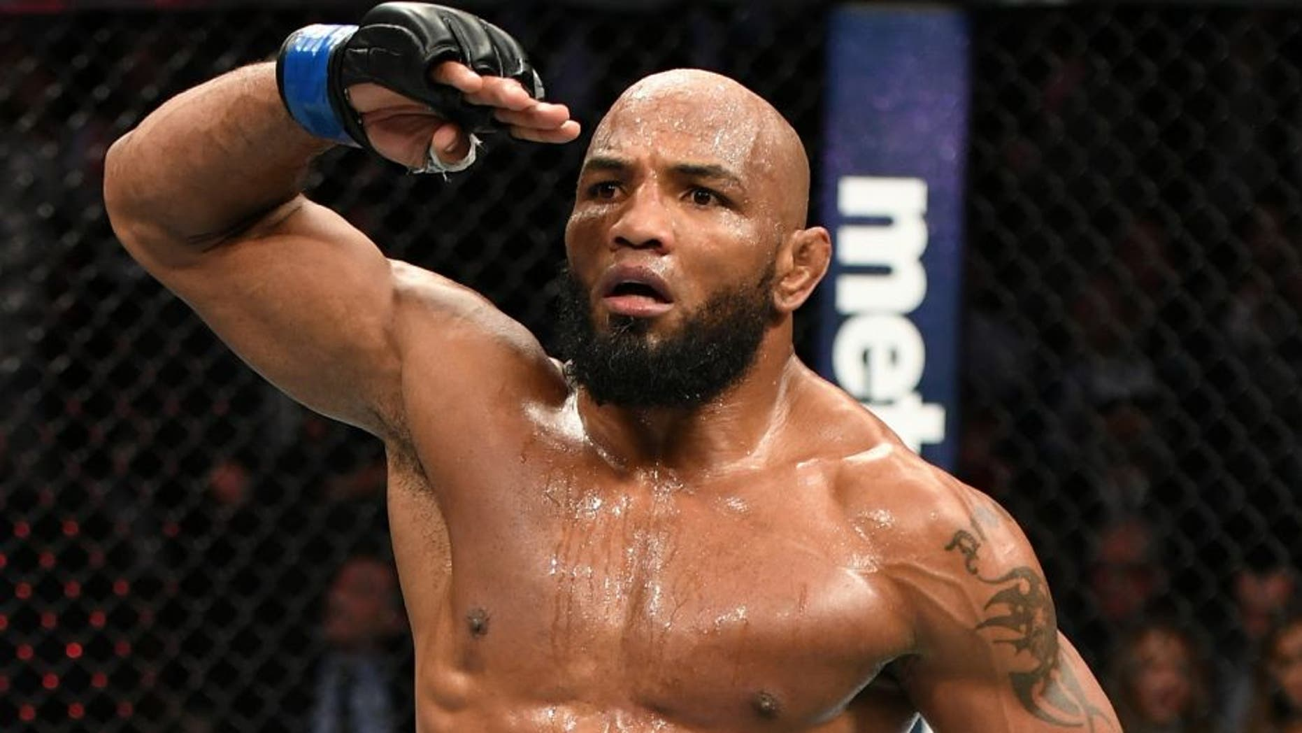 NEW YORK, NY - NOVEMBER 12: Yoel Romero of Cuba reacts against Chris Weidman of the United States (not pictured) in their middleweight bout during the UFC 205 event at Madison Square Garden on November 12, 2016 in New York City. (Photo by Jeff Bottari/Zuffa LLC/Zuffa LLC via Getty Images)