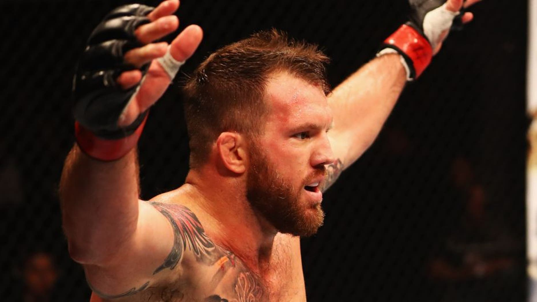 HAMBURG, GERMANY - SEPTEMBER 03: Ryan Bader of the USA celebrates his knockout victory over Ilir Latifi of Sweden in their Light Heavyweight Bout during the UFC Fight Night held at Barclaycard Arena on September 3, 2016 in Hamburg, Germany. (Photo by Dean Mouhtaropoulos/Zuffa LLC/Zuffa LLC via Getty Images)