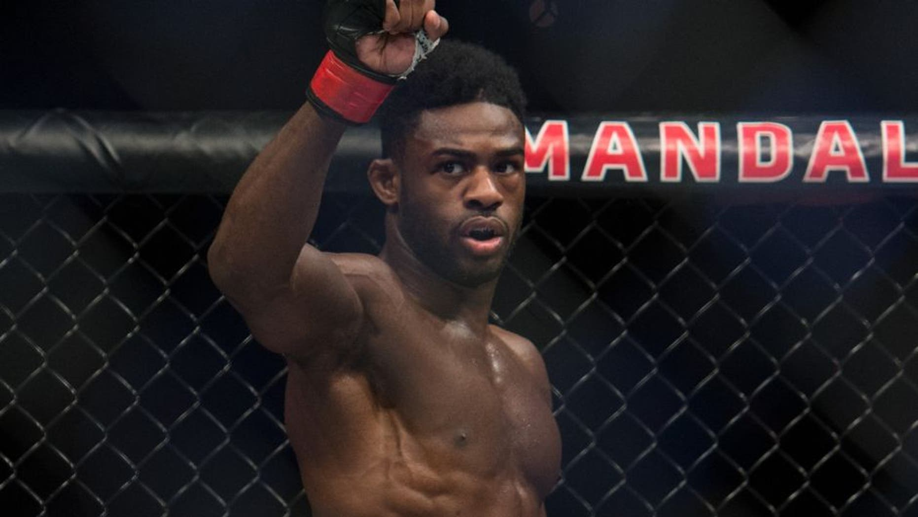LAS VEGAS, NV - MAY 29: Aljamain Sterling prepares for the third round to begin before facing Bryan Caraway in their bantamweight bout during the UFC Fight Night event inside the Mandalay Bay Events Center on May 29, 2016 in Las Vegas, Nevada. (Photo by Brandon Magnus/Zuffa LLC/Zuffa LLC via Getty Images)