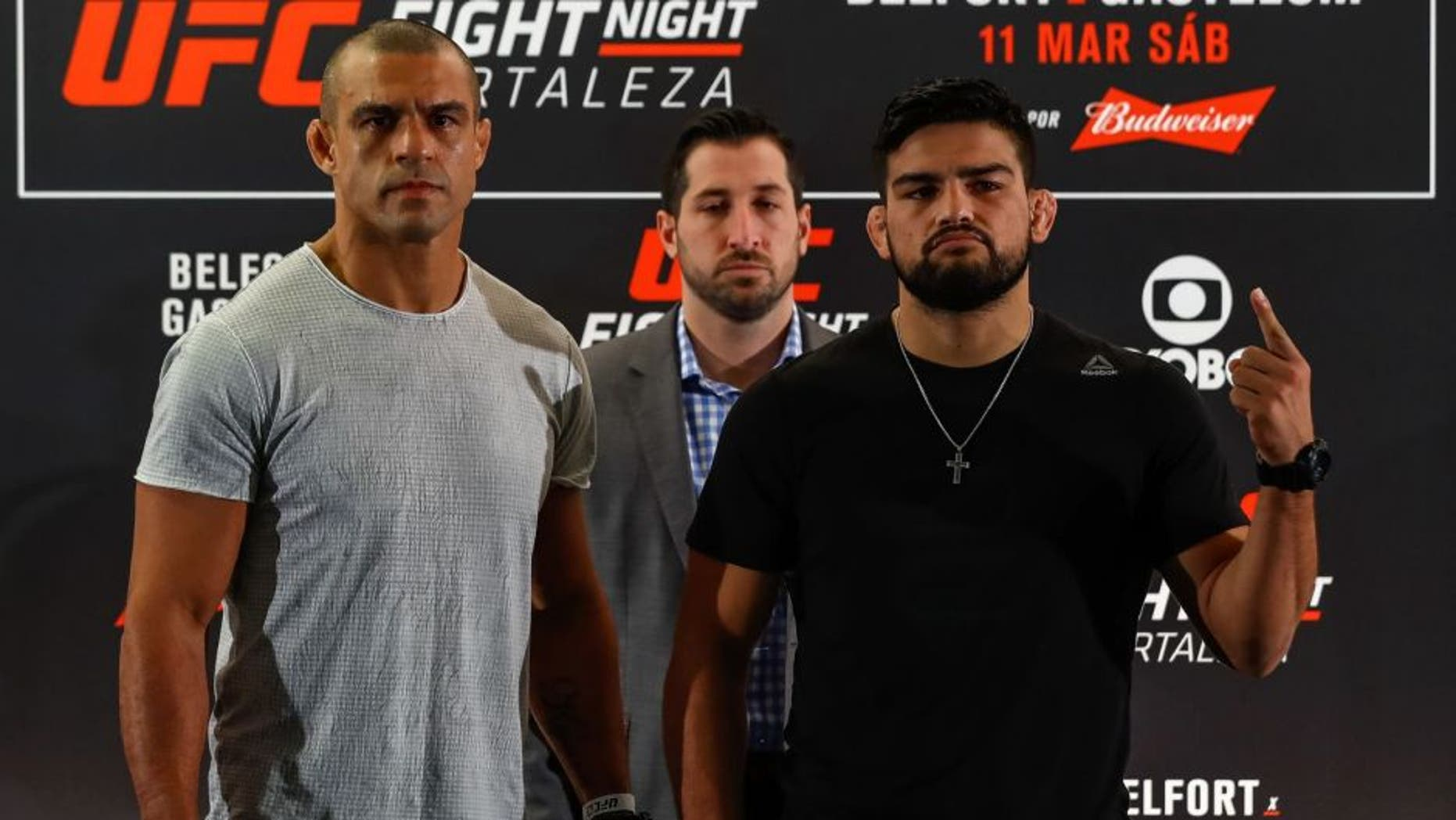 FORTALEZA, BRAZIL - MARCH 09: Middleweight fighters Vitor Belfort (L) of Brazil and Kelvin Gastelum of the United States pose for photographers during Ultimate Media Day at Gran Marquise Hotel on March 09, 2017 in Fortaleza, Brazil. (Photo by Buda Mendes/Zuffa LLC/Zuffa LLC via Getty Images)