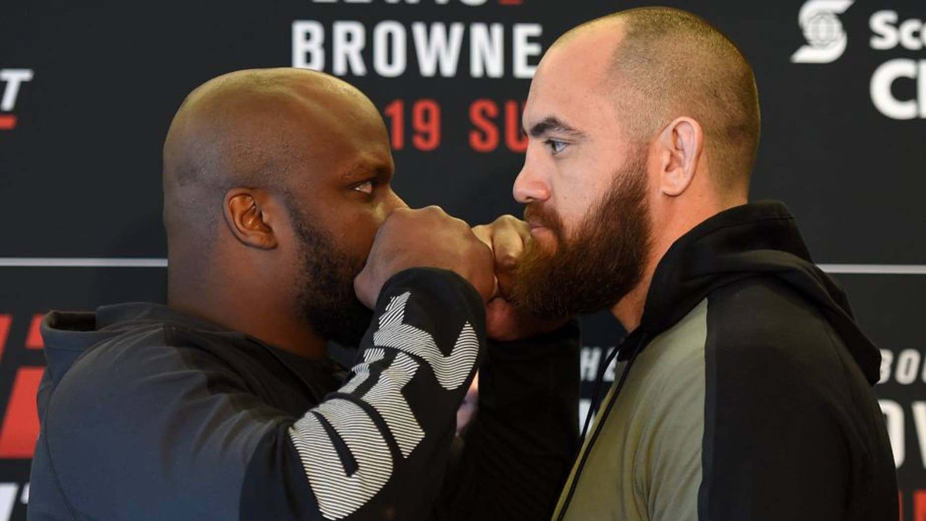 HALIFAX, NS - FEBRUARY 17: (L-R) Opponents Derrick Lewis and Travis Browne face off during the UFC Ultimate Media Day at the Halifax Marriott Harbourfront on February 17, 2017 in Halifax, Nova Scotia, Canada. (Photo by Josh Hedges/Zuffa LLC/Zuffa LLC via Getty Images)