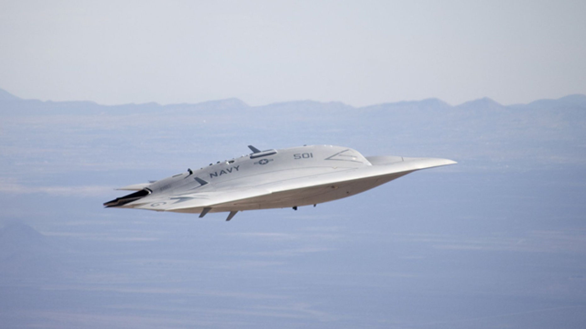 Developed by Northrop Grumman, the X-47B is a tailless, strike fighter-sized unmanned aircraft designed to take off from and land on moving aircraft carriers at sea.