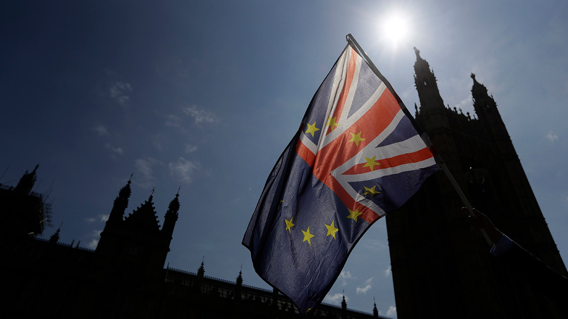 A flag is waved by a pro-EU demonstrator outside Parliament in London.