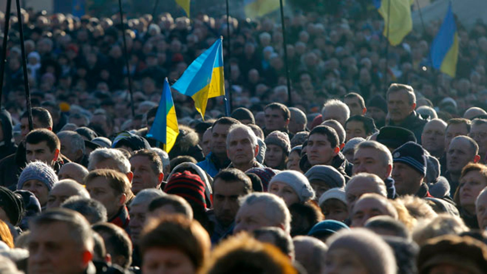 Dec. 22, 2013: Pro-European Union activists gather in Independence Square in Kiev, Ukraine. Ukraine has been stricken with mass protests for over a month. Protesters are demanding the resignation of President Viktor Yanukovych over his decision to ditch a pact with the European Union in favor of closer ties with Russia.