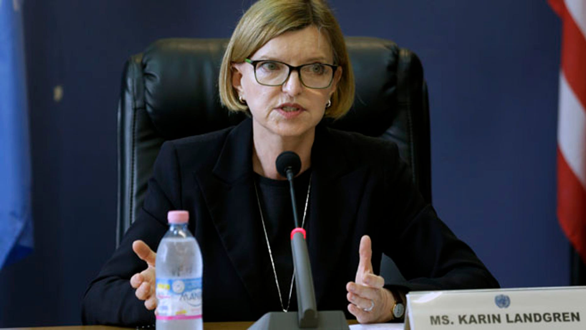 Oct. 1, 2014: Karin Landgren, Special Representative of the Secretary-General (SRSG) to the United Nations Mission in Liberia (UNMIL), addresses a news conference in Monrovia, Liberia
