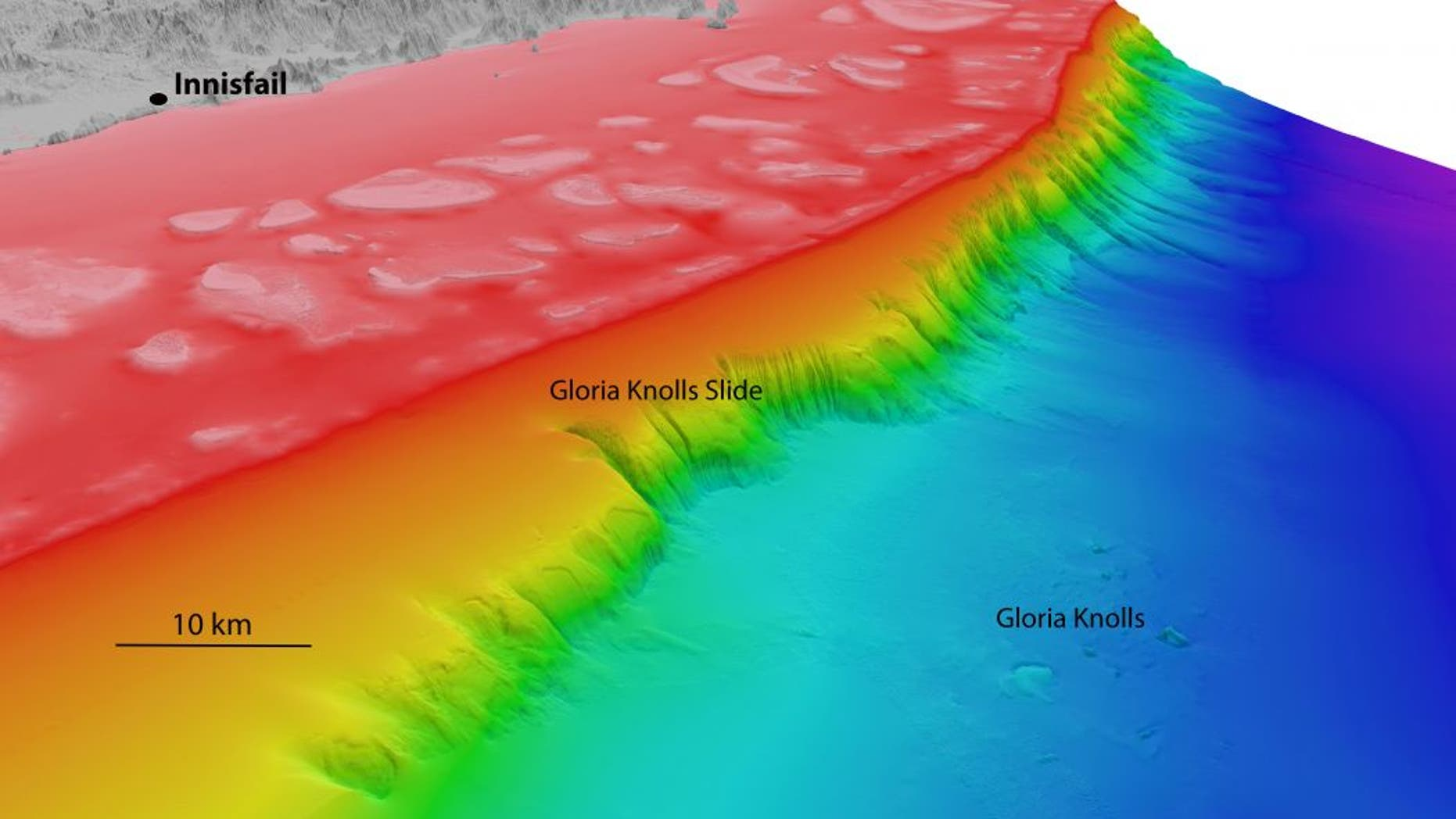 North-westerly view of the Gloria Knolls Slide and Gloria Knolls off Innisfail. Depths are coloured red (shallow) to blue (deep), over a depth range of about 5,577 feet. (Image: www.deepreef.org)