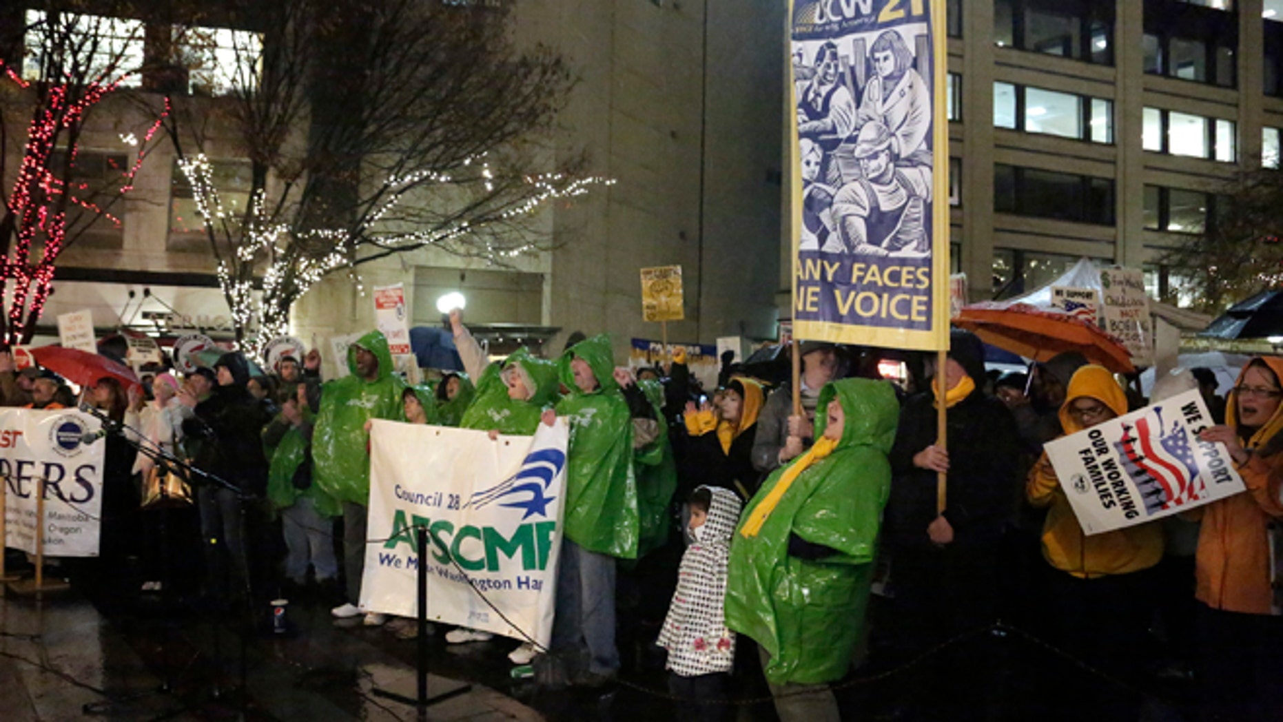 FILE:  Nov. 18, 2013: A rally to show support for a machinists union, in Seattle, Wash.