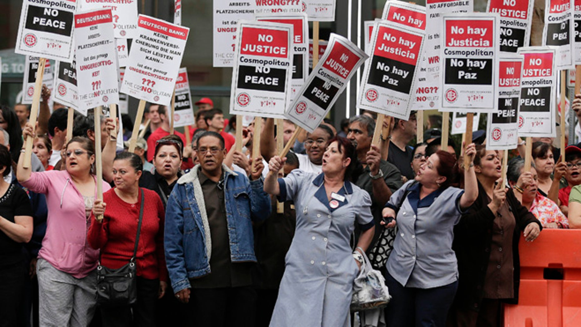 March 20, 2013: Culinary Union workers demonstrate along Las Vegas Boulevard, protesting against their contract negotiations with Deutsche Bank in Las Vegas.