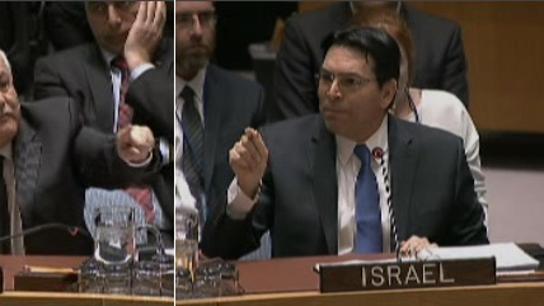 Palestinian ambassador Riyad Mansour, left, and Israeli Ambassador Danny Danon.