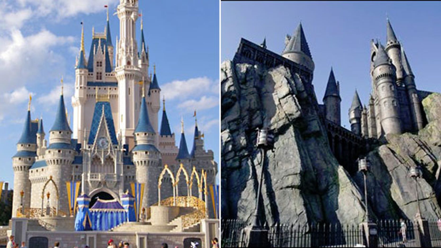 Cinderella Castle at Walt Disney World and Hogwarts Castle at The Wizarding World of Harry Potter at Universal Orlando theme park