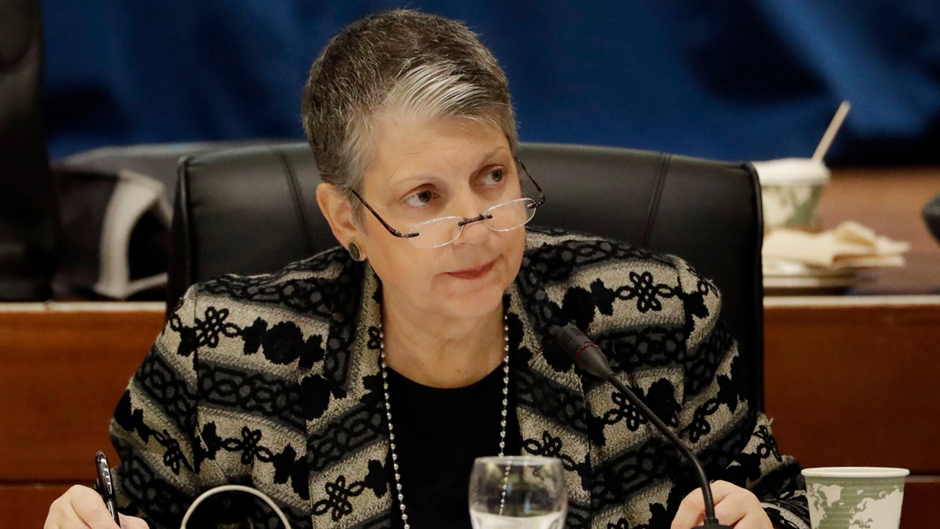 FILE - In this Wednesday, Jan. 25, 2017 file photo, University of California President Janet Napolitano attends a University of California Board of Regents meeting, in San Francisco.