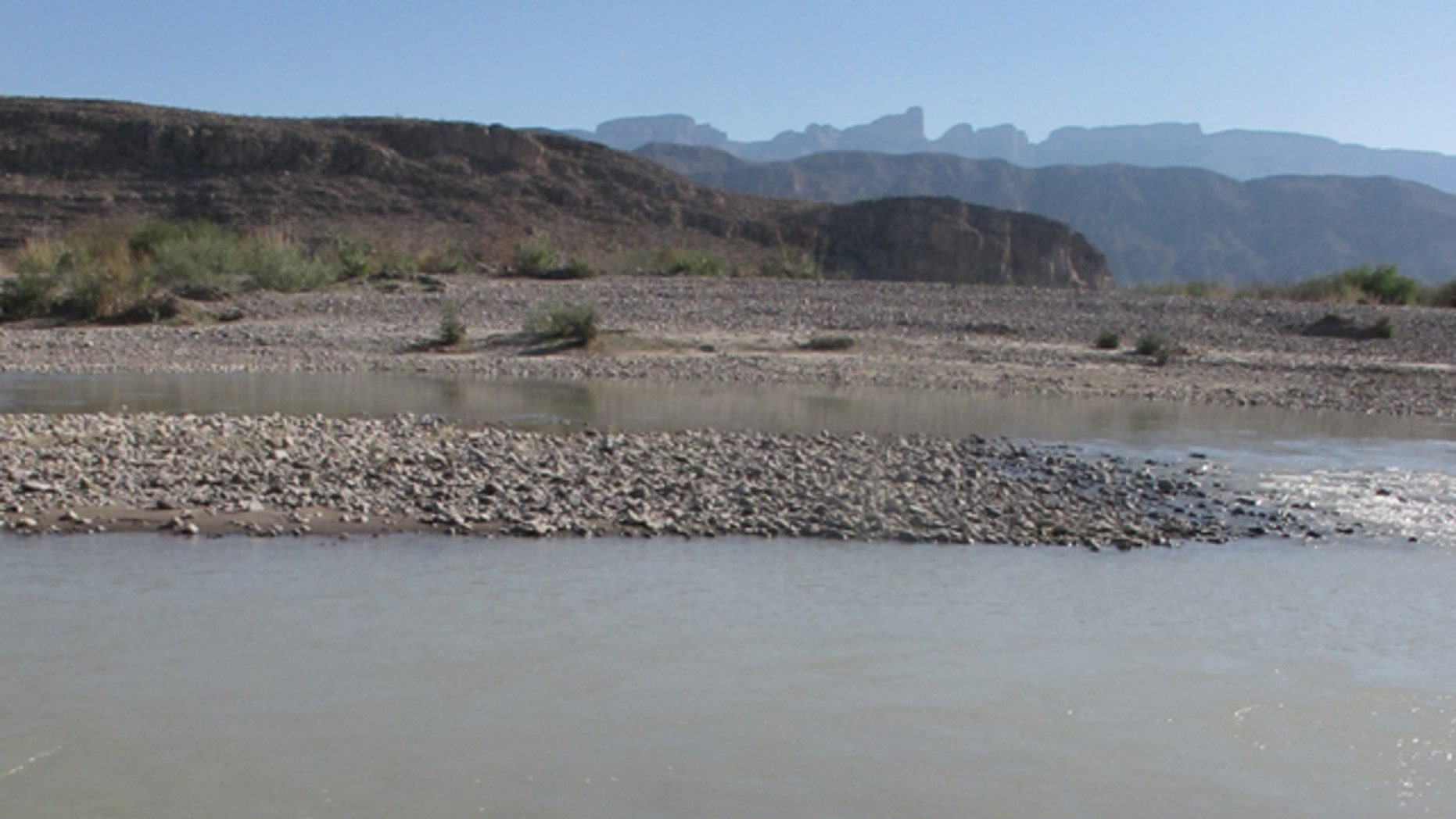 The Rio Grande river flows past Big Bend National Park, Texas, along the border with Mexico.