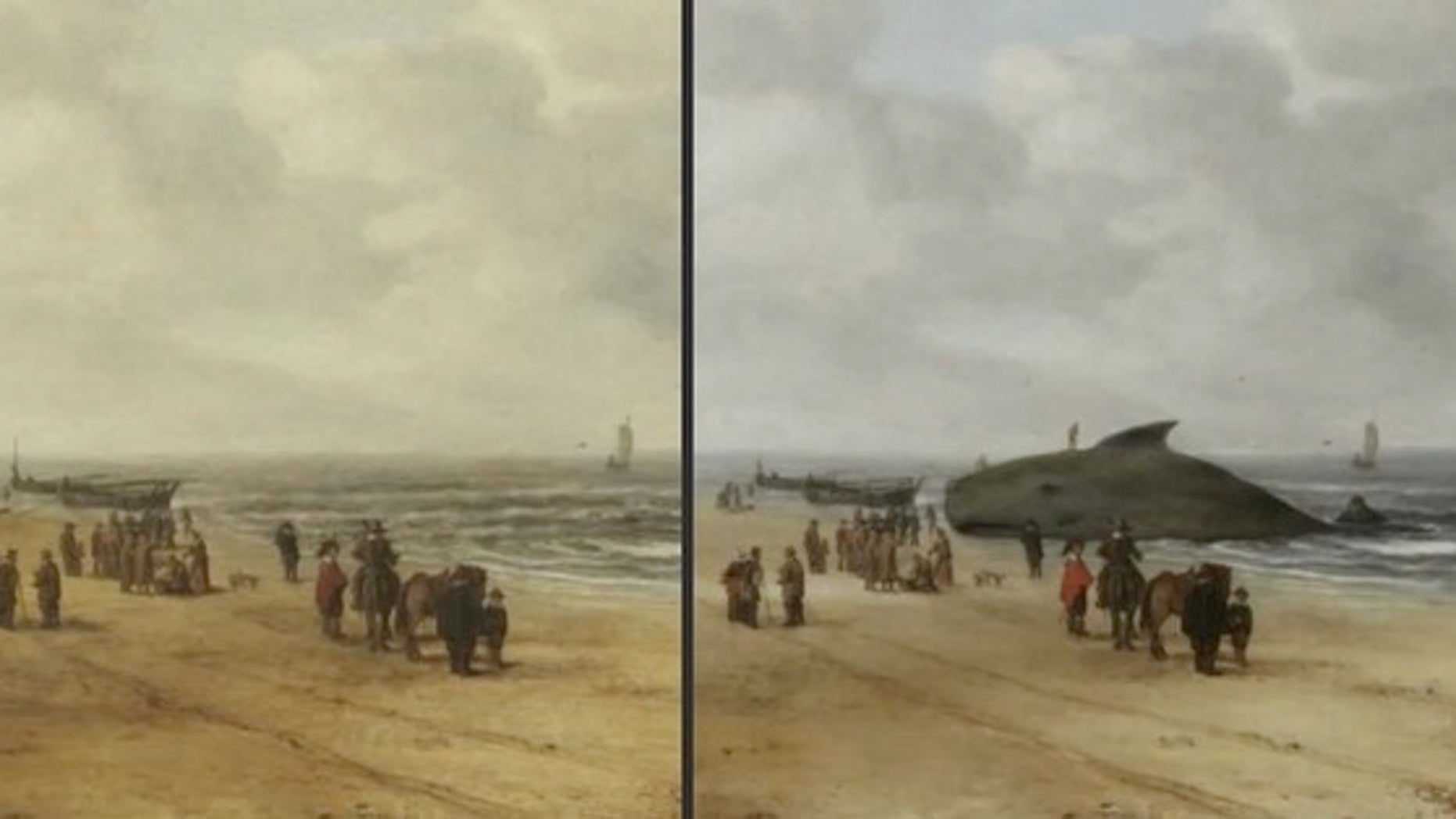 """""""View of Scheveningen Sands,"""" before and after conservators uncovered a beached whale in the painting."""
