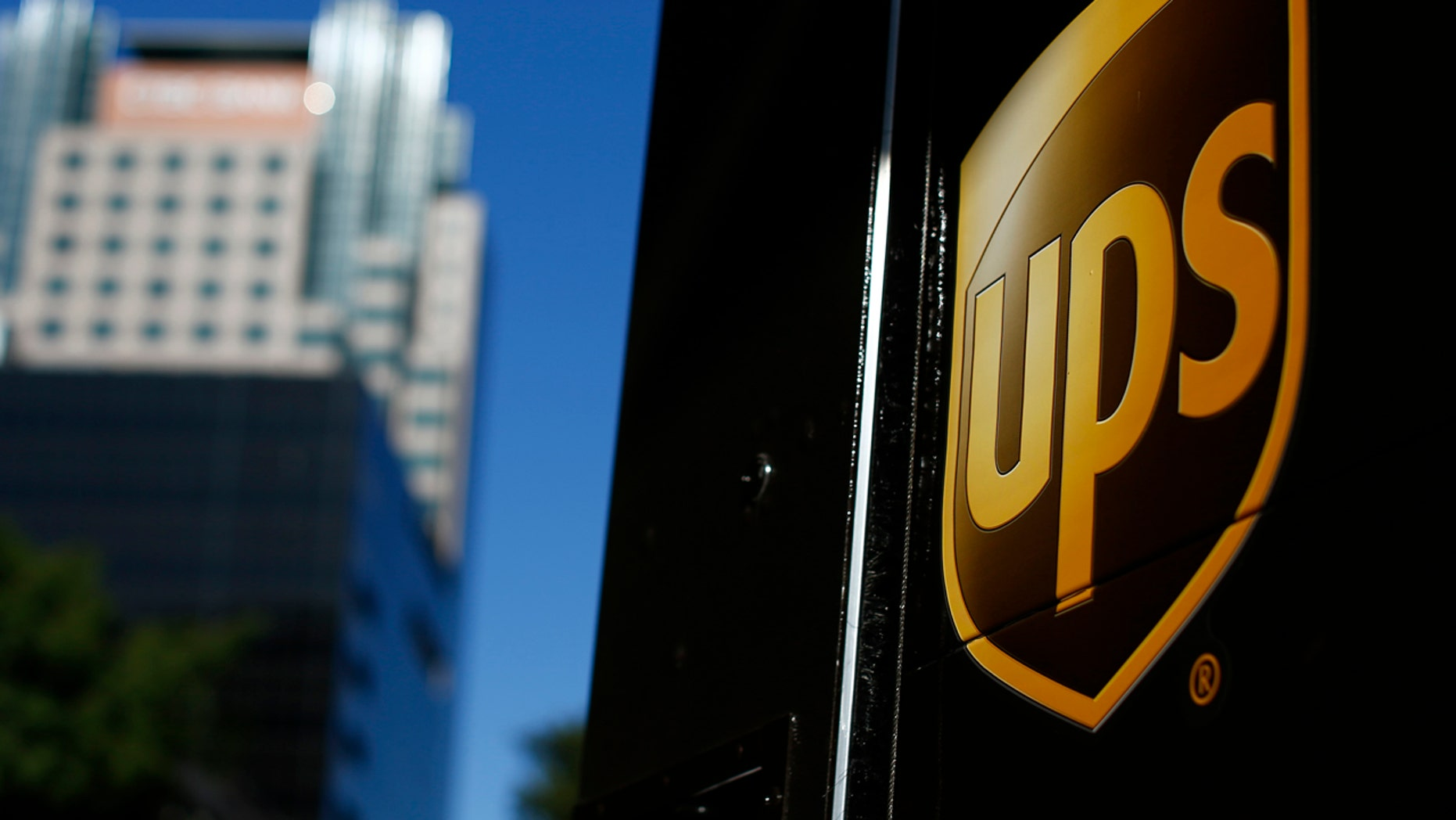 The logo of United Parcel Service is seen on one of the company's delivery trucks in Los Angeles, Oct. 29, 2014.